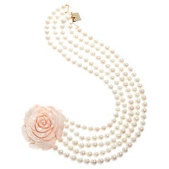 Multi-Strand Pearl Choker Necklace with Angel Skin Coral 18 Karat Gold Clasp