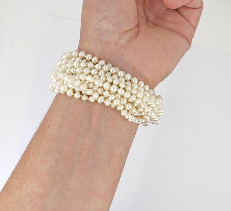 Round Cut Multi Strand Pearl & Diamond Bracelet For Sale