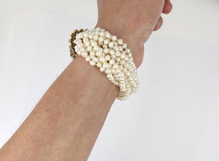 Multi Strand Pearl & Diamond Bracelet In Good Condition For Sale In New York, NY