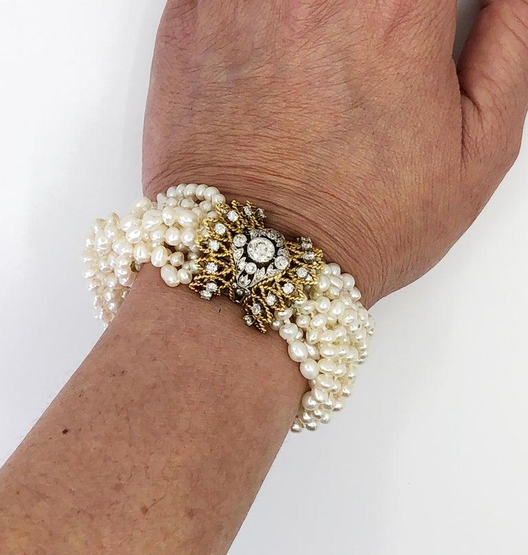 Women's Multi Strand Pearl & Diamond Bracelet For Sale