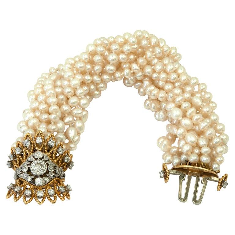 Multi Strand Pearl & Diamond Bracelet For Sale