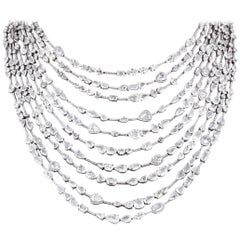 Multi-Strand Rose-Cut Diamond Necklace, 83.03 Carat