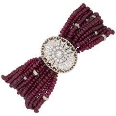 Multi-Strand Ruby Bracelet Diamond Clasp Estate 18k White Gold Vintage Jewelry