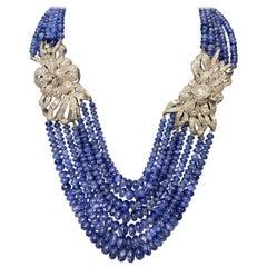 Multi-Strand Sapphire Bead and Diamond Necklace