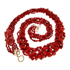 Multi Strand Sardinian Red Coral Nugget Necklace