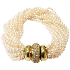 Multi Strand Seed Pearl Bracelet with 18 Karat Gold and Pave Diamond Clasp