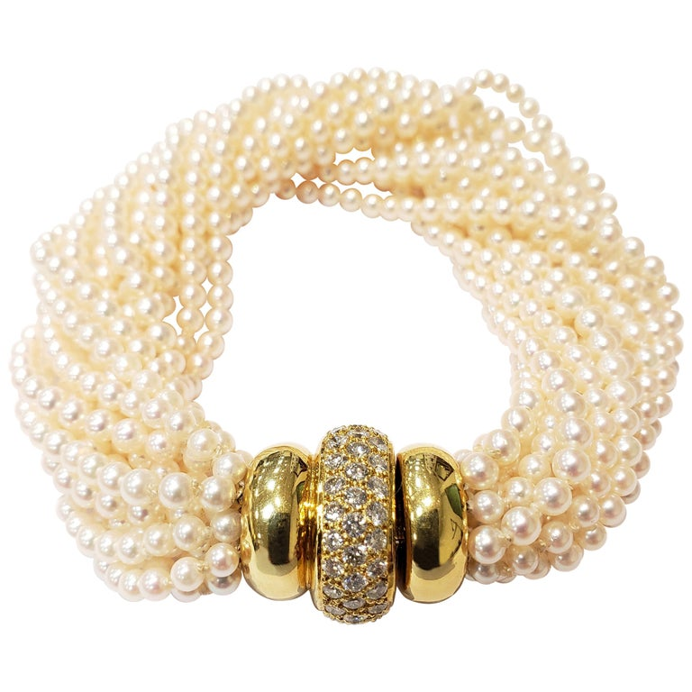 Multi Strand Seed Pearl Bracelet with 18 Karat Gold and Pave Diamond Clasp For Sale