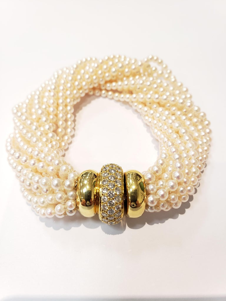Multi Strand Seed Pearl Bracelet with 18 Karat Gold and Pave Diamond Clasp In Good Condition For Sale In Red Bank, NJ