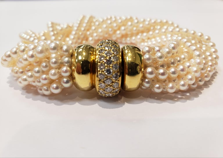 Women's or Men's Multi Strand Seed Pearl Bracelet with 18 Karat Gold and Pave Diamond Clasp For Sale