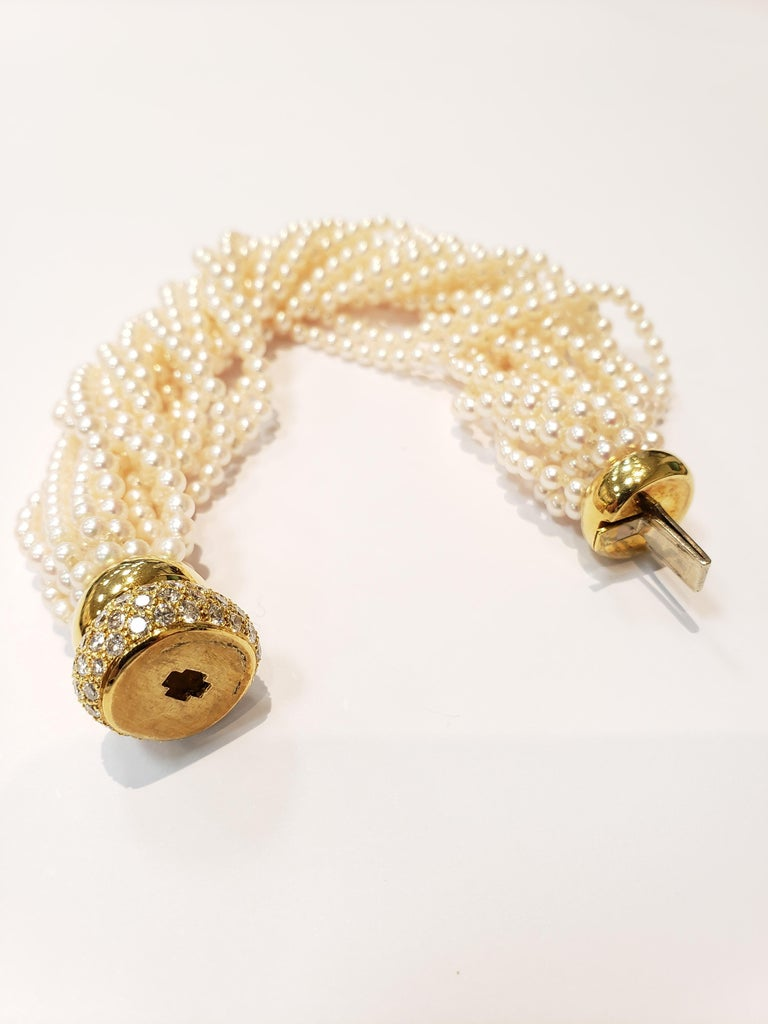 Multi Strand Seed Pearl Bracelet with 18 Karat Gold and Pave Diamond Clasp For Sale 1
