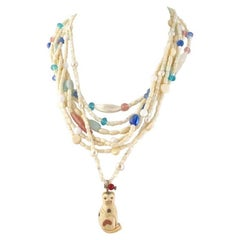 Exolette Multi-Strand Vintage Pastel Stone & MOP Necklace with Bone Cat Pendant