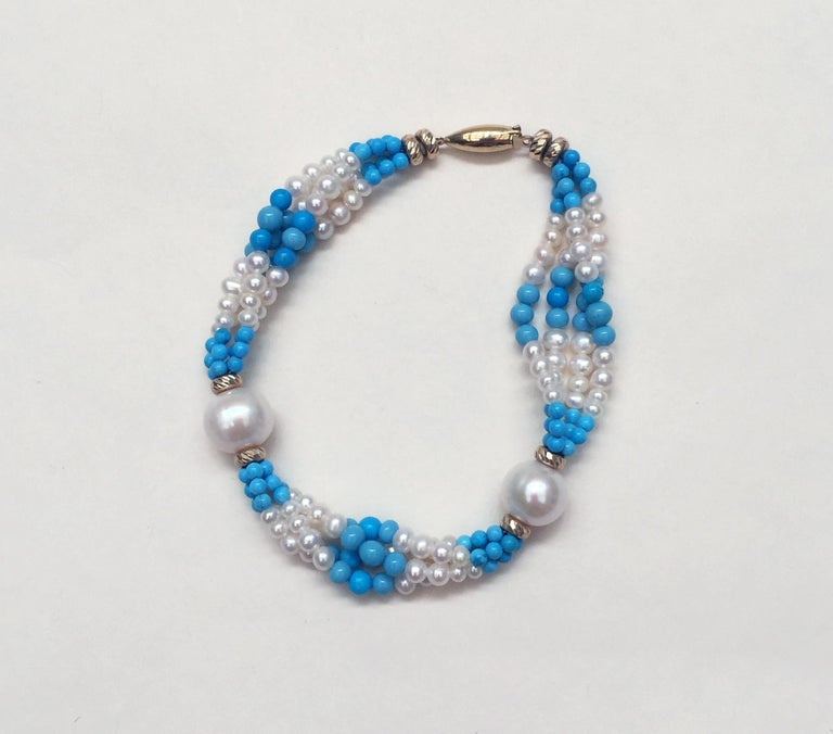 Multi Strand White Pearl and Turquoise Bracelet with 14 Karat Yellow Gold Clasp In New Condition For Sale In Beverly Hills, CA
