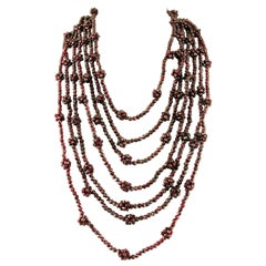 Multi-Strands Garnets Beaded Necklace with Golden Silver Clasp