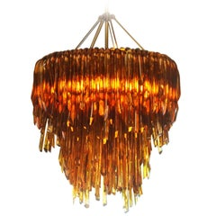 Multi-Tiered Handblown Glass, Amber Anemone Chandelier by Siemon & Salazar