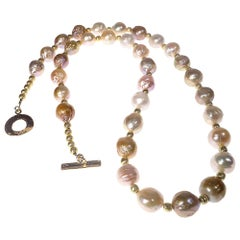 Multi Tone Baroque Pearl Necklace with Gold Accents