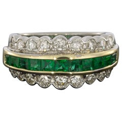 Multi-Tone Gold 2.00 Carat Emerald and Diamond Unique Scalloped Ring