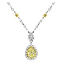 Multi-Tone Gold 2.61 Carat Pear Diamond GIA Certified Pendant Necklace
