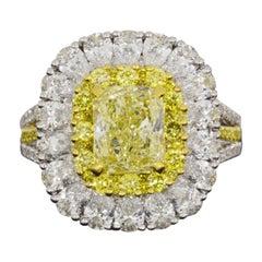 4.92 Carat GIA Certified Fancy Light Yellow Radiant Diamond Halo Engagement Ring