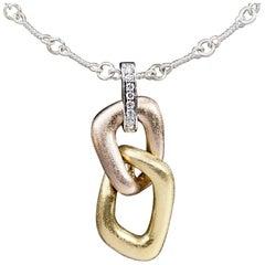 Multi-Tone Tricolor Gold Round Diamond Open Link Drop Pendant Necklace
