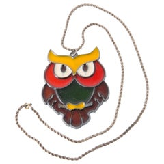 Multico Large Owl Stained Glass Necklace
