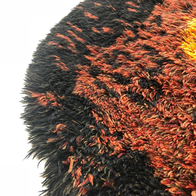 Multi-Color Scandinavian Psychedelic Batik High Pile Pop Art Rya Rug, 1970s For Sale 3