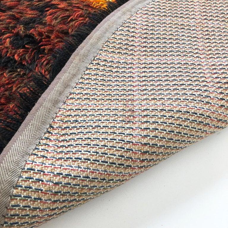 Multi-Color Scandinavian Psychedelic Batik High Pile Pop Art Rya Rug, 1970s For Sale 5