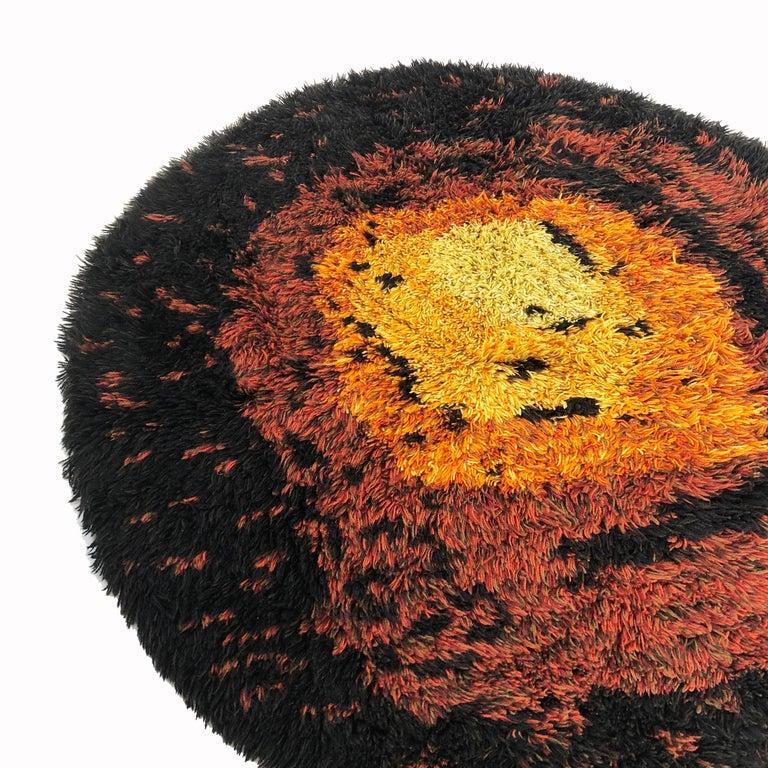 Danish Multi-Color Scandinavian Psychedelic Batik High Pile Pop Art Rya Rug, 1970s For Sale