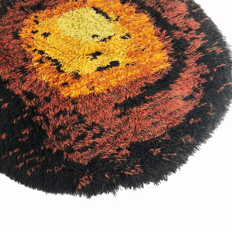 20th Century Multi-Color Scandinavian Psychedelic Batik High Pile Pop Art Rya Rug, 1970s For Sale