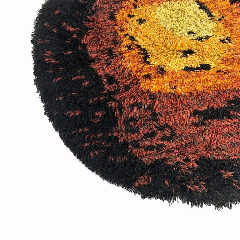 Cotton Multi-Color Scandinavian Psychedelic Batik High Pile Pop Art Rya Rug, 1970s For Sale