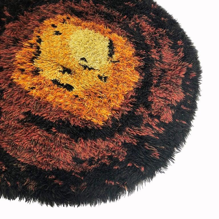 Multi-Color Scandinavian Psychedelic Batik High Pile Pop Art Rya Rug, 1970s For Sale 1