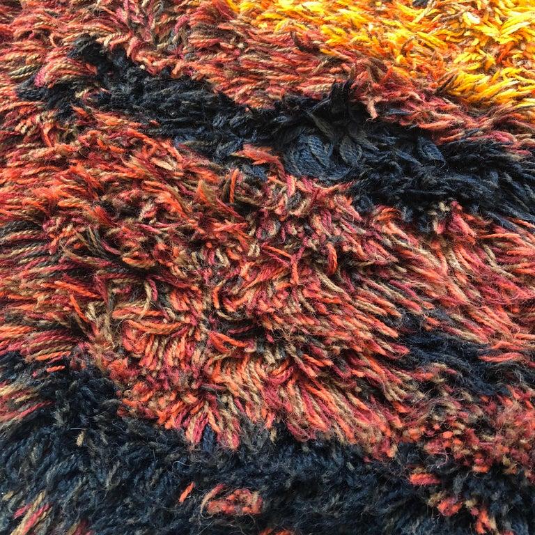 Multi-Color Scandinavian Psychedelic Batik High Pile Pop Art Rya Rug, 1970s For Sale 2