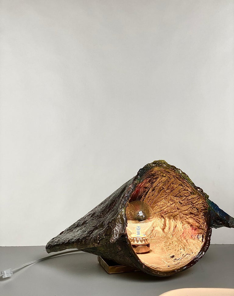 Hand-Crafted Multicolor and Gold Sculptural Plaster Table Lamp, 21st Century by Mattia Biagi For Sale