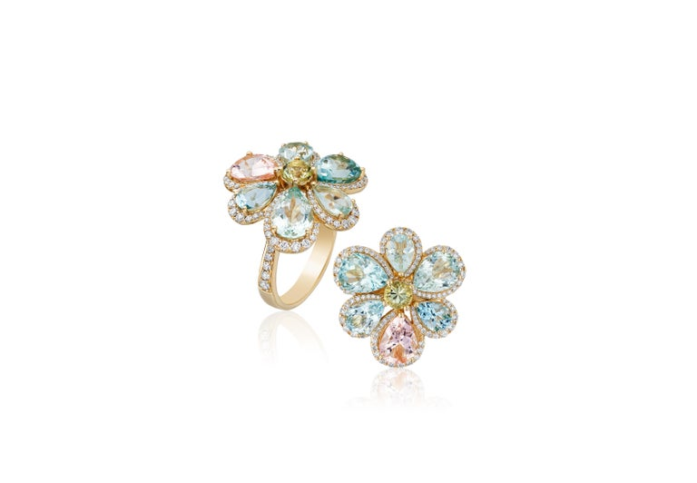 Multicolor Aqua Cluster Ring with Diamonds in 18K Yellow Gold, from 'G-One' Collection  Gemstone Weight Aqua- 7.44 Carats  Diamond: G-H / VS, Approx Wt: 0.90 Carats.