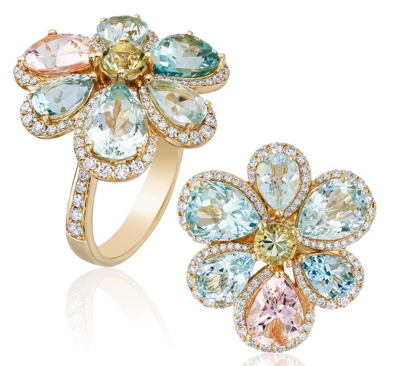 Contemporary Goshwara Multicolor Aqua  And Diamond Cluster Ring For Sale
