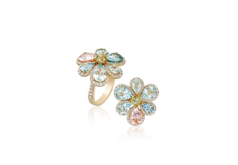 Pear Cut Goshwara Multicolor Aqua  And Diamond Cluster Ring For Sale