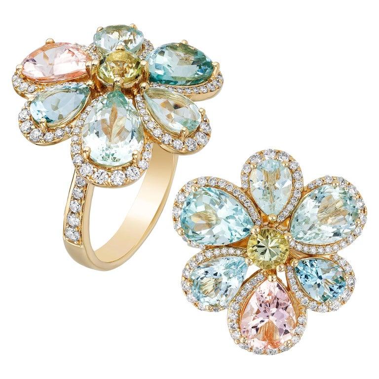 Goshwara Multicolor Aqua  And Diamond Cluster Ring For Sale