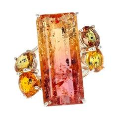 Multicolor Brilliant Natural 12.30ct. Tourmaline & Songea Sapphire Dramatic Ring