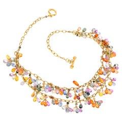 Multicolor Briolette-Cut Sapphire Inch Chandelier 18 Karat Gold Necklace
