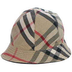 Burberry Multicolor Plaid Cotton Reversible Bucket Hat