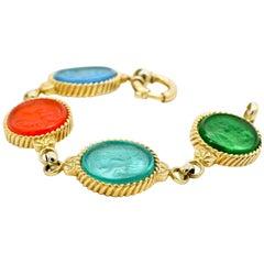Multi-Color Carved Italian Murano Glass Carved Intaglio Bracelet 18 Karat Gold