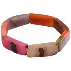 Multicolor Cuff Bracelet in Vegetable Ivory Tagua, Unique Artisan Creation