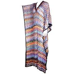 Multicolor Embellished Missoni Crochet Knit Kaftan Maxi Dress Gown