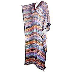 Multicolor Embellished Missoni Crochet Knit Kaftan Maxi Dress Gown