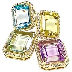 Goshwara Multi-Color Emerald Cut Earrings