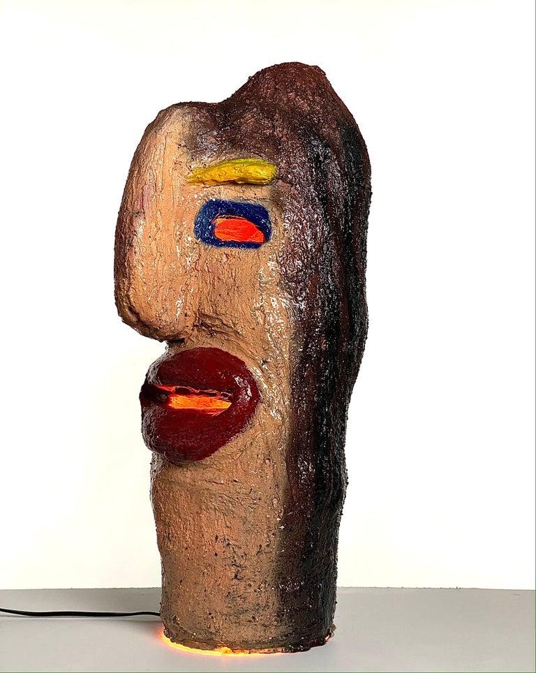 American Multicolor Face Sculptural Plaster Table Lamp, 21st Century by Mattia Biagi For Sale
