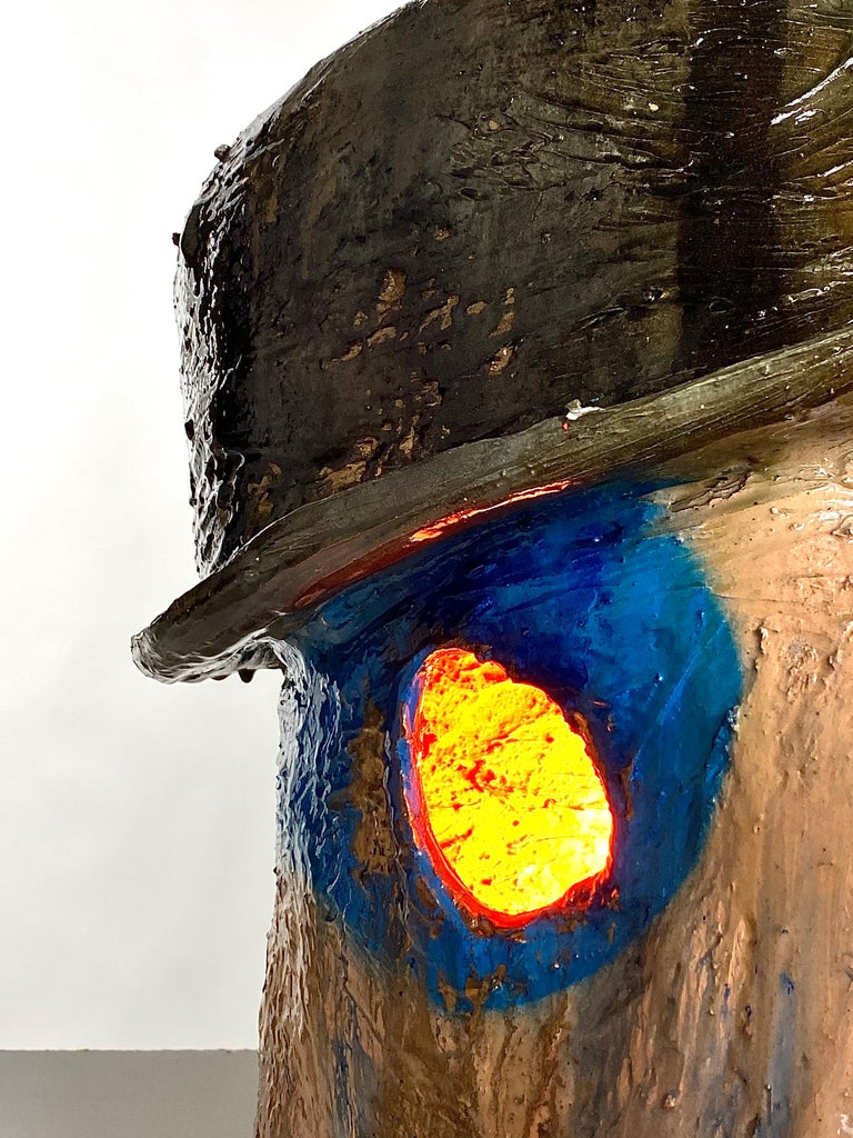 Hand-Crafted Multicolor Face Sculptural Plaster Table Lamp, 21st Century by Mattia Biagi For Sale