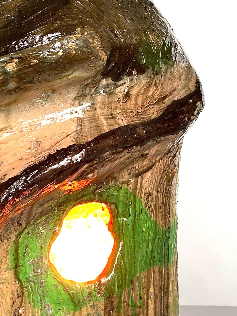 Multicolor Face Sculptural Plaster Table Lamp, 21st Century by Mattia Biagi In New Condition For Sale In Culver City, CA