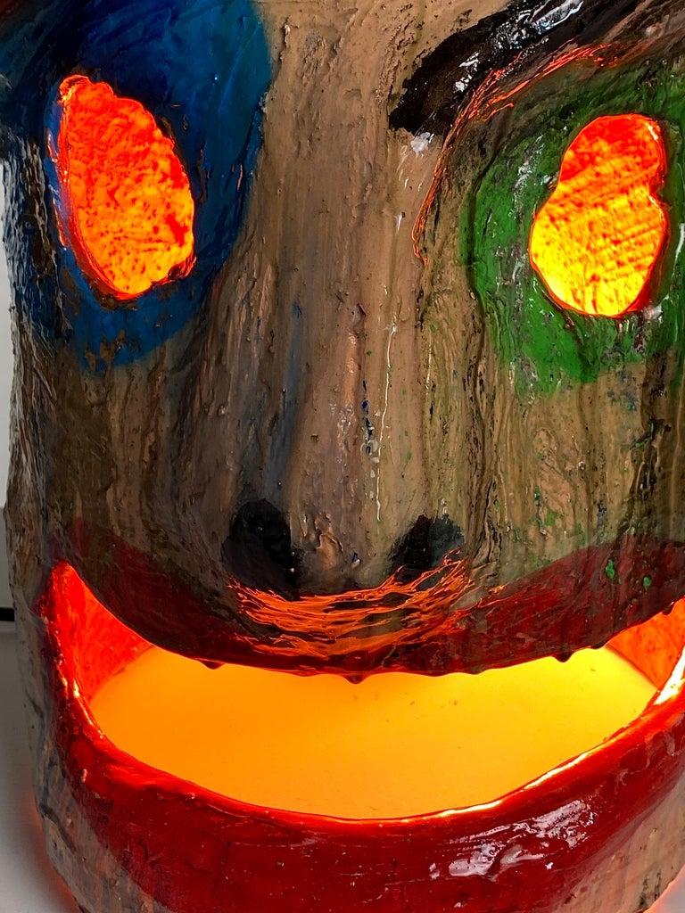Contemporary Multicolor Face Sculptural Plaster Table Lamp, 21st Century by Mattia Biagi For Sale