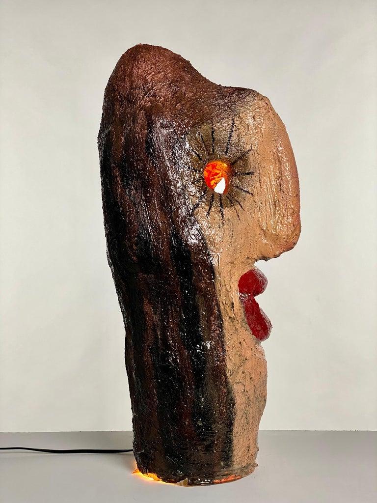 Multicolor Face Sculptural Plaster Table Lamp, 21st Century by Mattia Biagi For Sale 1