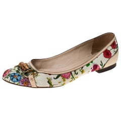Multicolor Floral Print Leather and Canvas Bamboo Horsebit Ballet Flats Size 41